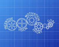 Incentive Wheels Blueprint. Incentive, motivation, vision, effort and goal on hand drawn gear wheels blueprint background Stock Photo