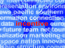 Incentive Word Cloud Shows Bonus Inducement Reward. Incentive Word Cloud Showing Bonus Inducement Reward Royalty Free Stock Photo