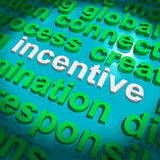 Incentive Word Cloud Shows Bonus Inducement Stock Images