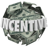 Incentive Word Money Ball Encouragement Buy Sell More. Incentive word in 3d white letters around a ball or sphere of hundred dollar bills to illustrate financial Royalty Free Stock Images