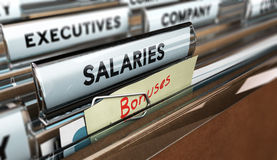 Incentive, Year End Bonus. Close up on a file tab with the word salaries and bonuses, focus on the main text and blur effect. Concept image for illustration of Stock Photography