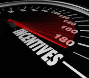 Incentives Car Speedometer Auto Dealership Buy Vehicle Save Mone. Incentives word speedometer to advertise special money saving deals, bonuses and rewards at a Royalty Free Stock Images