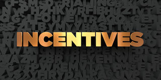 Incentives - Gold text on black background - 3D rendered royalty free stock picture Stock Photos