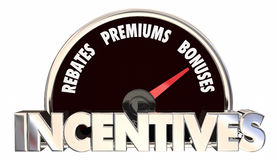Incentives Rebates Premiums Bonus Offers Speedometer Royalty Free Stock Photos