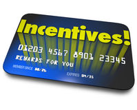 Incentives Rewards Bonus Credit Gift Card Money Savings Value. Incentives word on a blue credit or gift card for rewards or bonus savings for buying or special Royalty Free Stock Photography