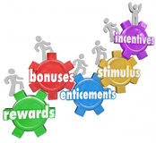 Incentives Rewards Bonuses Customers Workers Climbing Heigher. Incentives and related words like rewards, bonuses, stimulus and entincements on gears with Royalty Free Stock Photography
