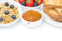 Inceppamento, cereale e pane tostato per la prima colazione (con spazio per testo) Immagini Stock