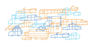 Inceppamento dell'automobile del fumetto/traffico duro Fotografia Stock Libera da Diritti