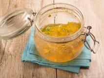 Inceppamento della marmellata d'arance in una ciotola di vetro Fotografie Stock Libere da Diritti