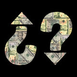 Incerteza econômica com dólares Fotos de Stock Royalty Free