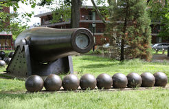 0 inch Parrott Cannon of 1864 as a Civil War Memorial in Bay Ridge area of Brooklyn Stock Photos