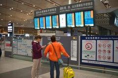 Incheckning i inre av flygplatsen royaltyfria foton
