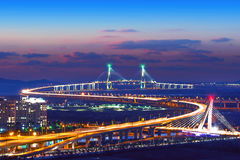 Incheon bridge in korea.with color filter. Royalty Free Stock Images
