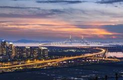 Incheon bro på solnedgången Arkivfoto