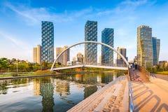 Incheon, Central Park nel distretto aziendale internazionale di Songdo, fotografia stock libera da diritti