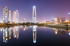 Incheon Central park at night time Royalty Free Stock Photography