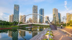 Incheon, Central Park in Songdo International Business District, South Korea stock footage