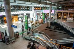 Incheon international Airport terminal interior view with duty free area and luxury shops in Seoul South Korea