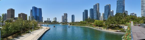 Cityscape of Songdo IBD. Incheon, Korea - April 27, 2017: Songdo International Business District Songdo IBD with Songdo Central Park. The city is a new smart royalty free stock images