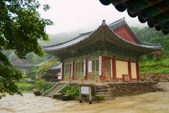 Jeondeungsa temple buildings on a rainy day in Incheon, Korea.