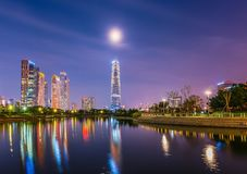 INCHEON, KOREA Songdo Central Park in Incheon, South Korea. Songdo Central Park at night in Incheon, South Korea stock image