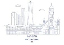 Incheon linjär stadshorisont, Sydkorea Arkivbilder