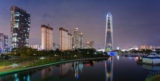 Incheon på natten Arkivfoton