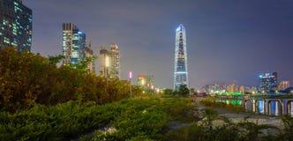 Incheon på natten Arkivbilder
