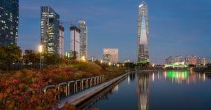 Incheon på natten Fotografering för Bildbyråer