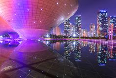 Tri-bowl Building at Central Park in Songdo district, Incheon, South Korea. Incheon, South Korea - May 17, 2015: Tri-bowl Building at Central Park in Songdo Royalty Free Stock Images