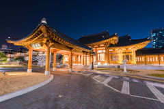 Incheon,Traditional Korean style architecture at night in Incheon,Korea. stock photos
