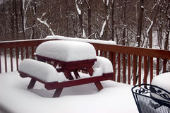 10 inches of snow on the deck. 10 inches of fresh snow on the deck Royalty Free Stock Photos