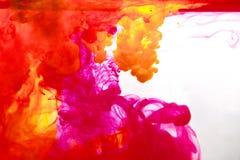 Inchiostri in acqua, astrazione di colore, esplosione di colore Fotografie Stock Libere da Diritti