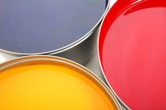 Inchiostri del torchio tipografico, ciano, rosso magenta, colore giallo immagine stock libera da diritti