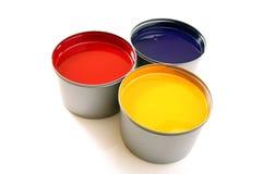 Inchiostri del torchio tipografico, ciano, rosso magenta, colore giallo fotografie stock libere da diritti