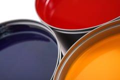 Inchiostri del torchio tipografico, ciano, rosso magenta, colore giallo fotografia stock libera da diritti