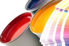 Inchiostri del torchio tipografico, ciano, rosso magenta, colore giallo Fotografie Stock