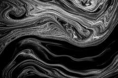 Inchiostro astratto di struttura su colore dell'acqua in bianco e nero Fotografie Stock