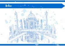 Inchiostro blu del disegno di schizzo dell'India il Taj Mahal illustrazione vettoriale