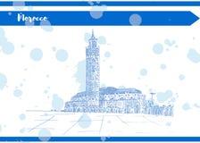 Inchiostro blu della cartolina di Marocco su Libro Bianco illustrazione vettoriale