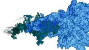 Inchiostro blu o fumo per effetto e compositing L'inchiostro di VFX si appanna o fumo con l'alfa maschera Primo piano eccellente  illustrazione di stock