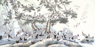 Inchiostro cinese sulla gru Illustrazione Vettoriale