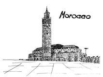 Inchiostro del nero della cartolina del Marocco su fondo bianco royalty illustrazione gratis