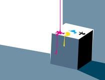 Inchiostro di versamento su un cubo - disegno minimalistic illustrazione vettoriale