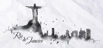 Inchiostro Rio de Janeiro della siluetta illustrazione di stock