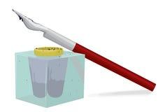 Inchiostro-vaso e penna Fotografia Stock