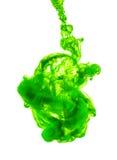 Inchiostro verde isolato su fondo bianco Fotografia Stock