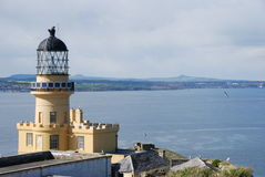 Inchkeith Lighthouse and Lomond Hills Royalty Free Stock Images