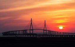 Inchon bro och solnedgång Arkivfoto
