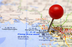 Inchon in map Royalty Free Stock Photos